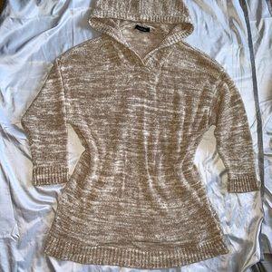 August Silk Knitted Hooded Sweater Tan sz XL